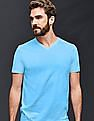 GAP Men Blue Vintage Wash V-Neck T-Shirt