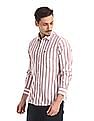 Arrow Sports Semi Cutaway Collar Striped Shirt