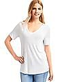 GAP Women White Shirred V-Neck Tee