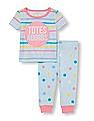 The Children's Place Baby And Toddler Girl Short Sleeve 'Totes Adorbs' Striped Top And Dot Print Pants PJ Set