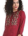 Anahi Red Embroidered Layered Kurta