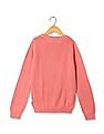 U.S. Polo Assn. Kids Girls Round Neck Cable Knit Sweater