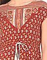 Bronz Drawstring Waist Printed Tunic