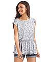 GAP Women Blue Softspun Sleeveless Tie-Waist Top
