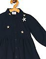Donuts Blue Girls Embroidered Corduroy Dress
