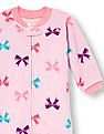 The Children's Place Baby And Toddler Girl Long Sleeve Bow Print Blanket Sleeper