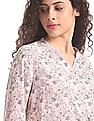 Cherokee Pink Notch Mandarin Neck Printed top