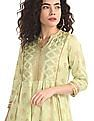 Anahi Green Notched Neck Metallic Print Kurta