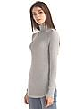 GAP Women Grey Modal Rib Knit Turtleneck